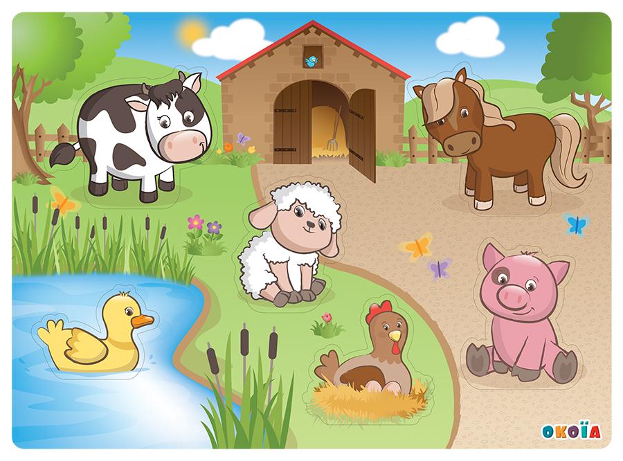 illustrateur freelance - puzzle animaux de la ferme